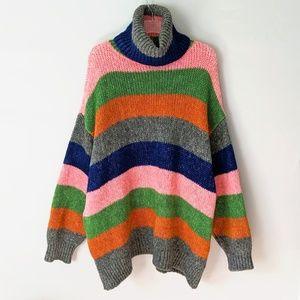 Zara Knit Chunky Rainbow Stripe Oversized Sweater
